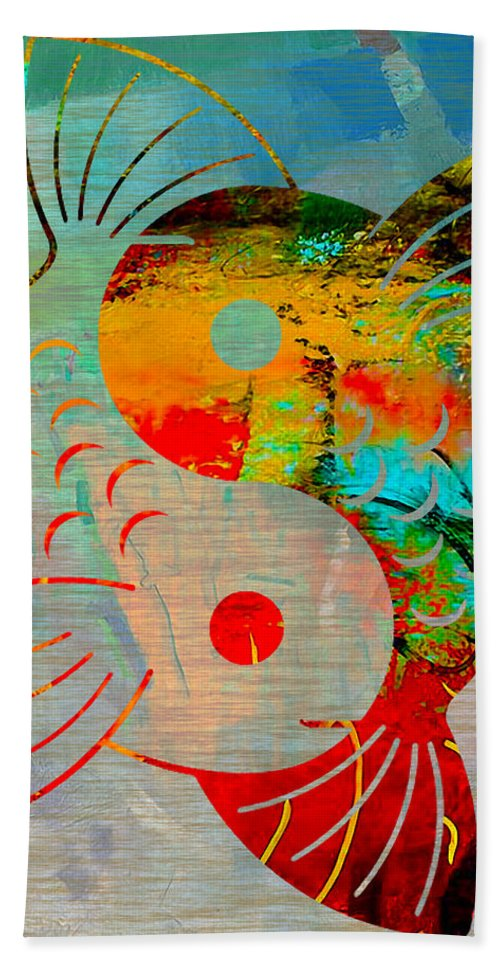 Namaste Paintings Hand Towel featuring the mixed media Yin Yang Koi by Marvin Blaine
