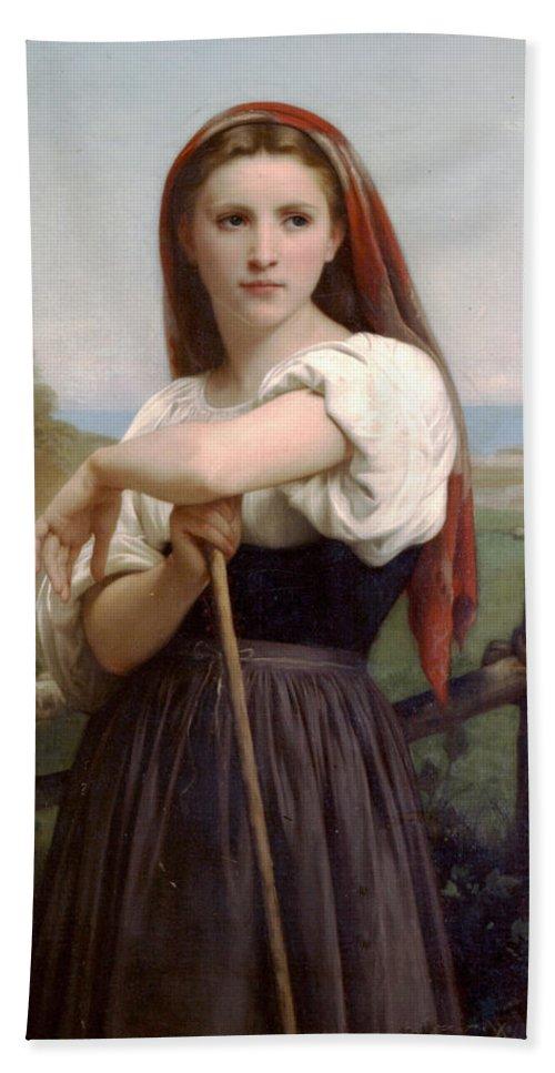 Young Shepherdess Hand Towel featuring the digital art Young Shepherdess by William Bouguereau