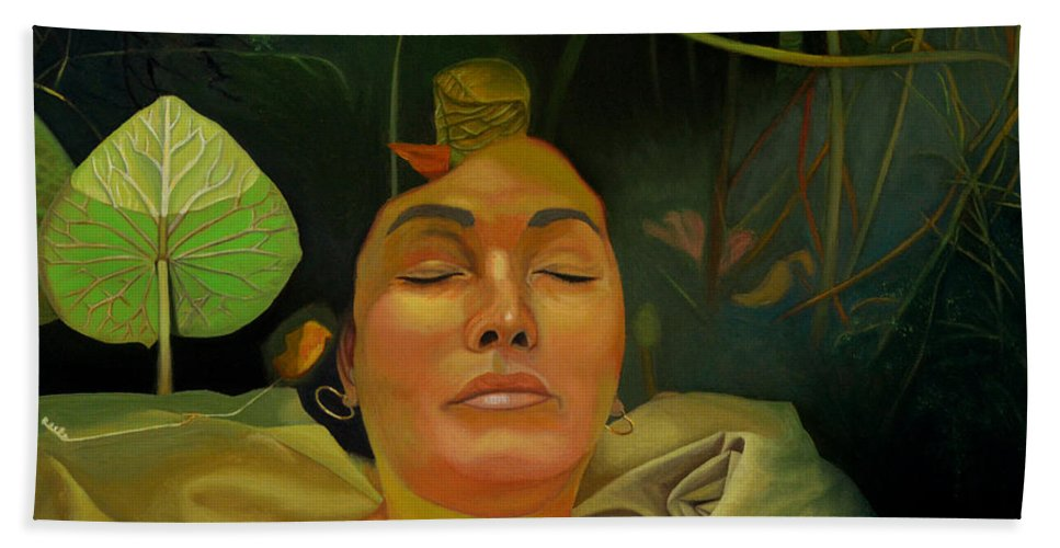 Figurative Bath Sheet featuring the painting 10 30 A.m. by Thu Nguyen