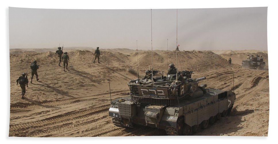 Battletank Bath Sheet featuring the photograph An Israel Defense Force Merkava Mark II by Ofer Zidon