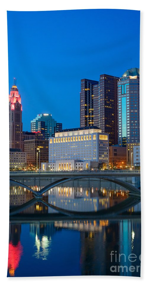 Columbus Hand Towel featuring the photograph Fx2l-516 Columbus Ohio Night Skyline Photo by Ohio Stock Photography