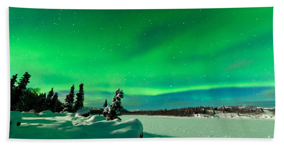 Alaska Hand Towel featuring the photograph Intense Display Of Northern Lights Aurora Borealis by Stephan Pietzko