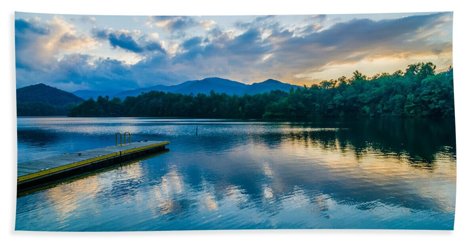 Colors Hand Towel featuring the photograph Lake Santeetlah In Great Smoky Mountains North Carolina by Alex Grichenko