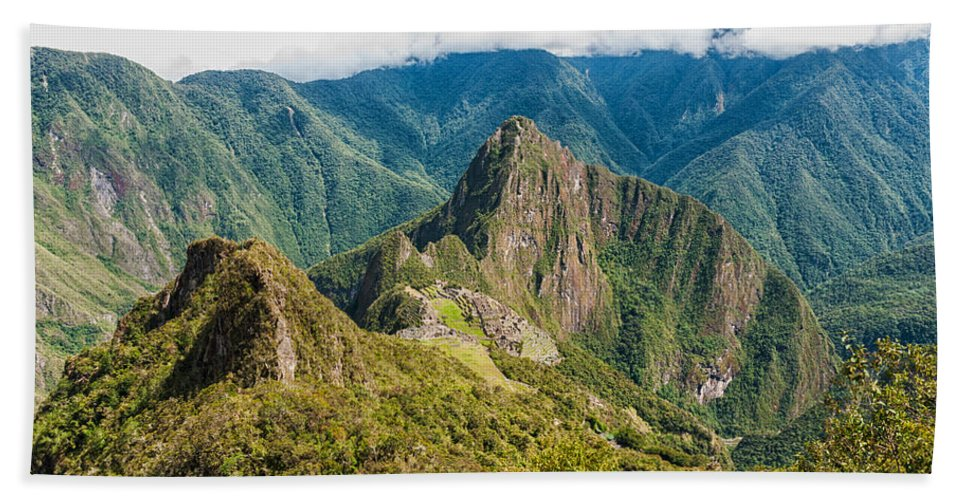 Aguas Calientes Hand Towel featuring the photograph Machu Picchu by U Schade