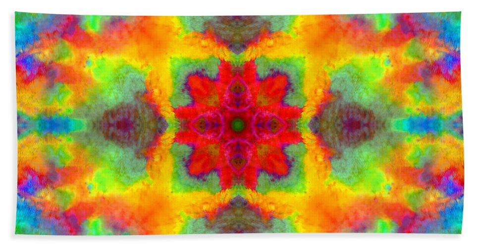 Rainbow Bath Sheet featuring the photograph Rainbow Light Mandala by Susan Bloom