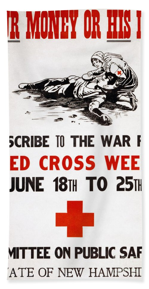 1917 Bath Sheet featuring the photograph Red Cross Poster, C1917 by Granger