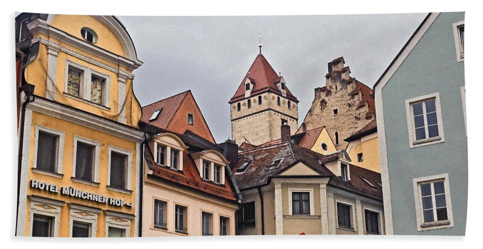 Regensburg Hand Towel featuring the photograph Regensburg Germany by Howard Stapleton