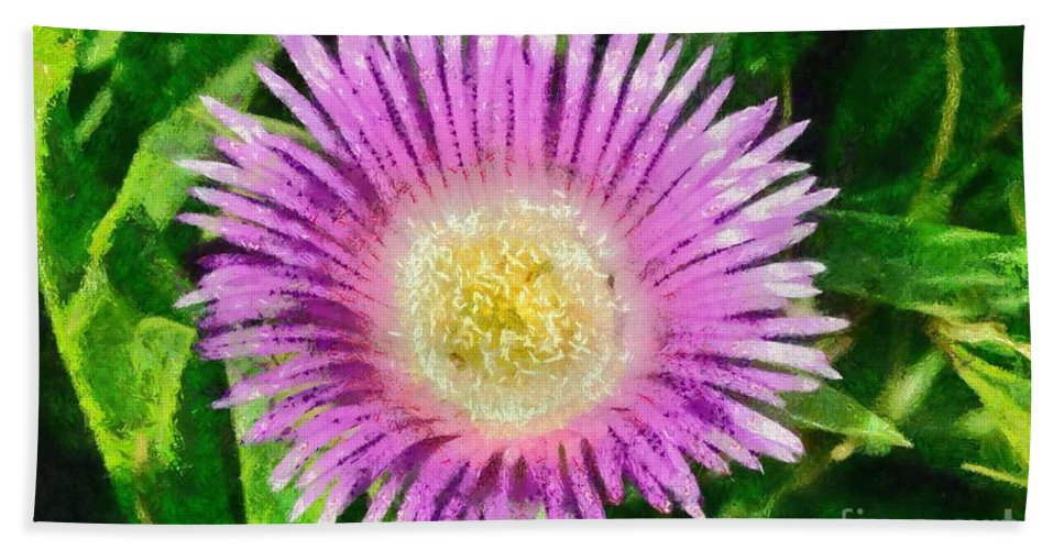 Carpobrotus Acinaciformis; Pink; Blue; Purple; Flower; Flowers; Wild; Plant; Spring; Springtime; Season; Nature; Natural; Natural Environment; Natural World; Flora; Bloom; Blooming; Blossom; Blossoming; Color; Colour; Colorful; Colourful; Earth; Environment; Ecological; Ecology; Country; Landscape; Countryside; Scenery; Macro; Close-up; Detail; Details; Greece; Hellas; Greek; Artistic; Exterior; Outdoor; Outside; Paint; Painting; Paintings Hand Towel featuring the painting Spring Wild Flower by George Atsametakis