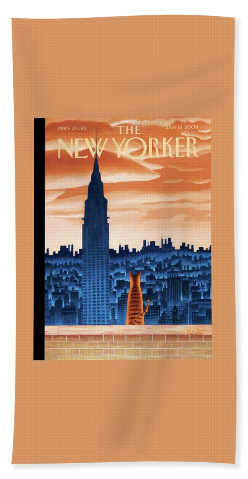 Nyc Hand Towel featuring the painting New Yorker January 12th, 2009 by Mark Ulriksen