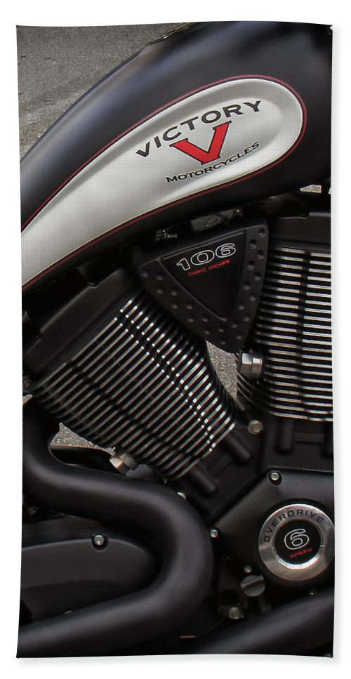 V-twin Engines Bath Sheet featuring the photograph 106ci V-twin by Debby Richards