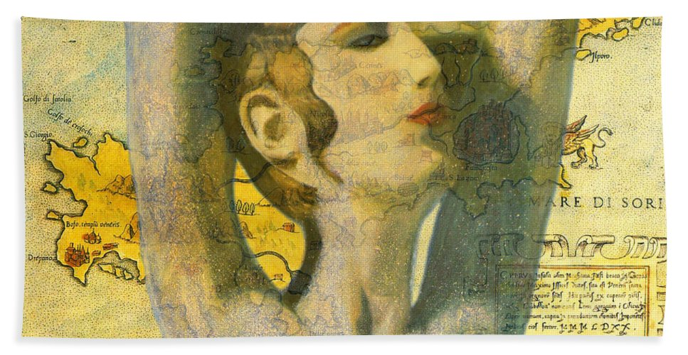 Augusta Stylianou Hand Towel featuring the painting Ancient Cyprus Map And Aphrodite by Augusta Stylianou