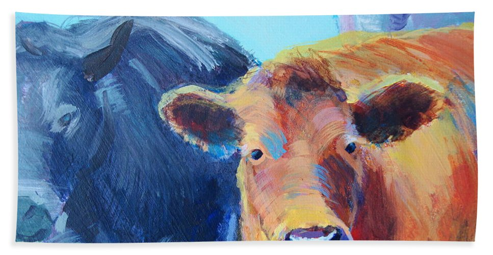 Cow Hand Towel featuring the painting Cows by Mike Jory