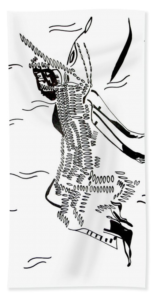 Jesus Bath Sheet featuring the drawing Dinka Dance - South Sudan by Gloria Ssali