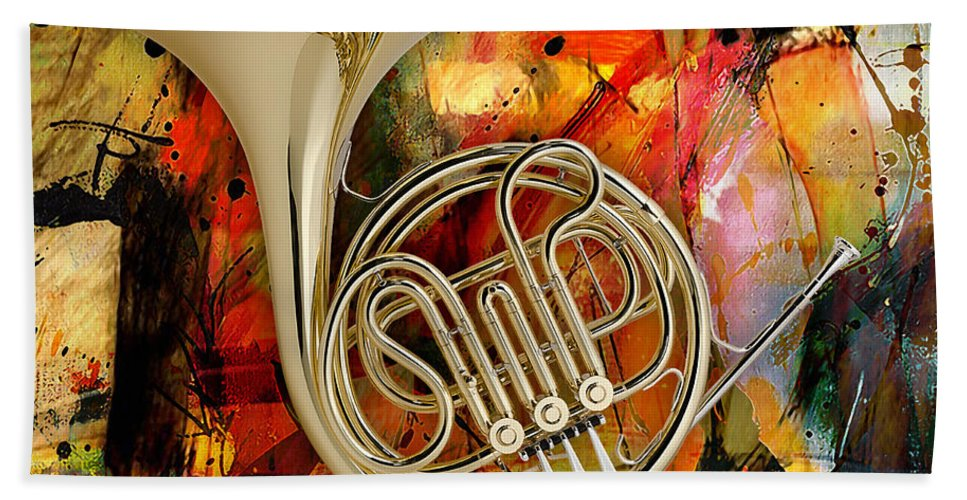French Horn Bath Sheet featuring the mixed media French Horn by Marvin Blaine