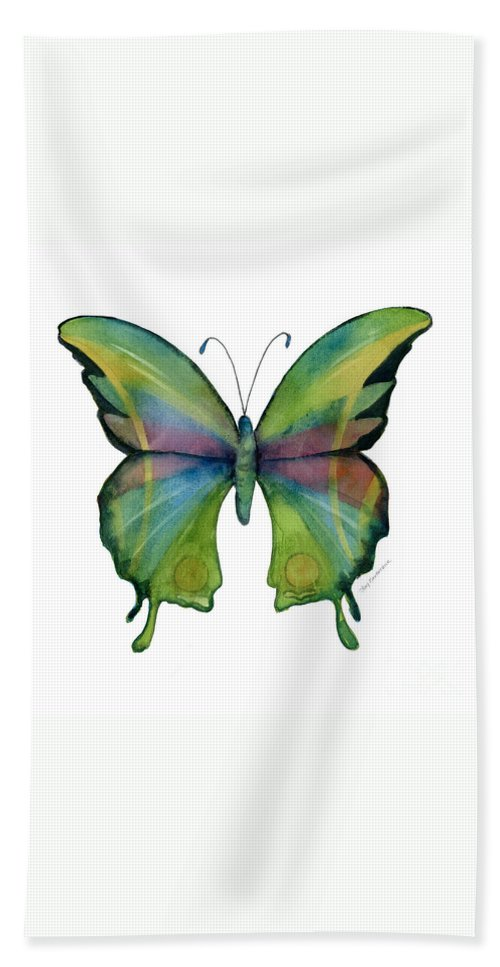 Prism Hand Towel featuring the painting 11 Prism Butterfly by Amy Kirkpatrick