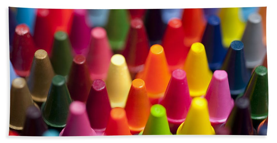 Abstract Bath Sheet featuring the photograph Rows Of Multicolored Crayons by Jim Corwin