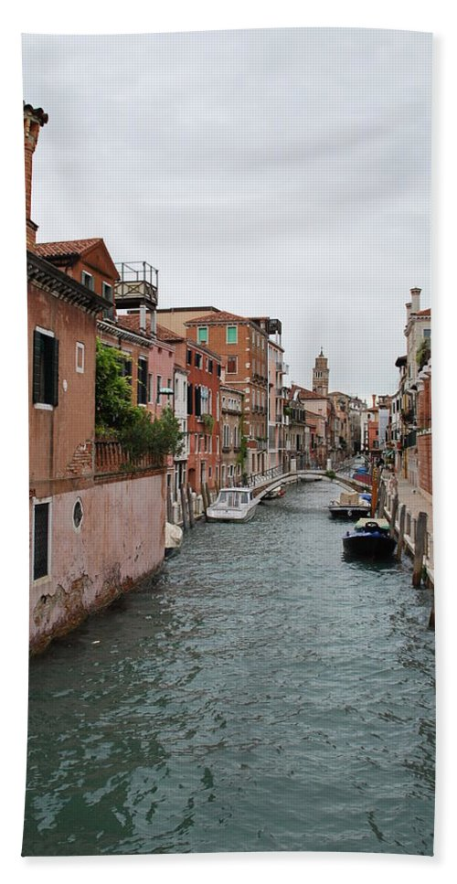 Venice Bath Sheet featuring the photograph Venice Canal by Richard Booth