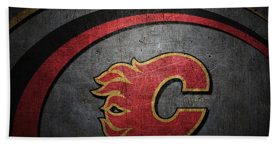 Flames Bath Sheet featuring the photograph Calgary Flames by Joe Hamilton
