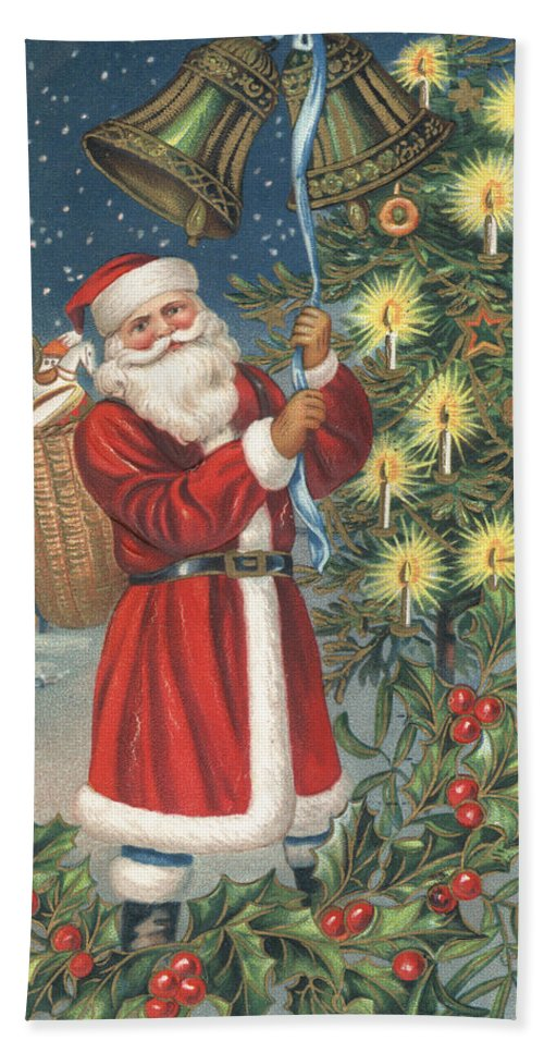 Greetings Card; Christmas; Christmas Card; Father Christmas; Santa Claus; Basket; Christmas Presents; Presents; Gifts; Toys; Candles; Bells; Holly; Snow; Snowing; Christmas Hand Towel featuring the painting Christmas Card by English School