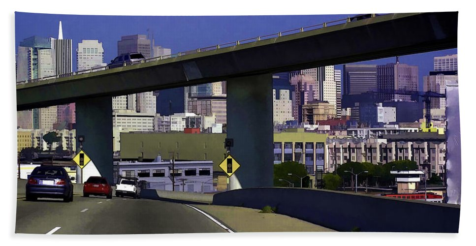 Cars Bath Sheet featuring the photograph Heading Into The Busy Part Of San Francisco by Ashish Agarwal
