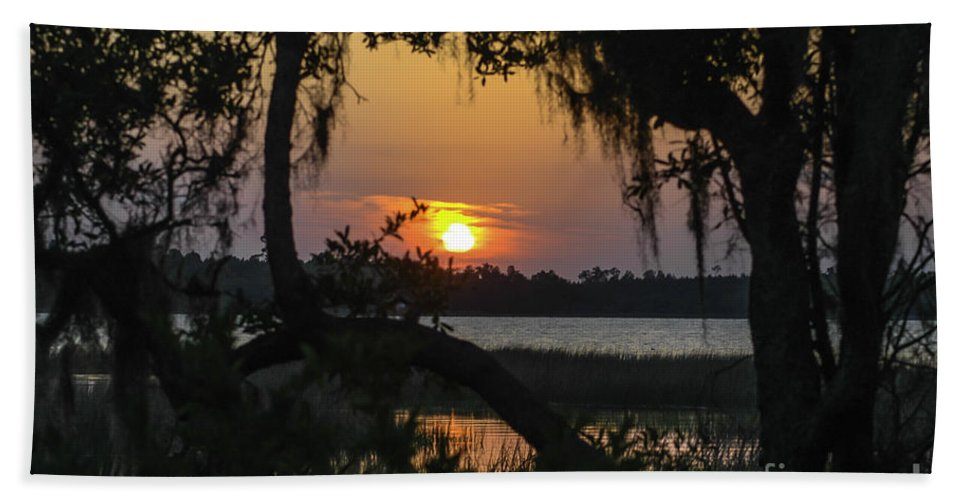 Lowcountry Bath Sheet featuring the photograph Lowcountry Spanish Moss Sunset by Dale Powell
