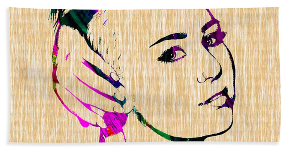 Miley Cyrus Hand Towel featuring the mixed media Miley Cyrus Collection by Marvin Blaine