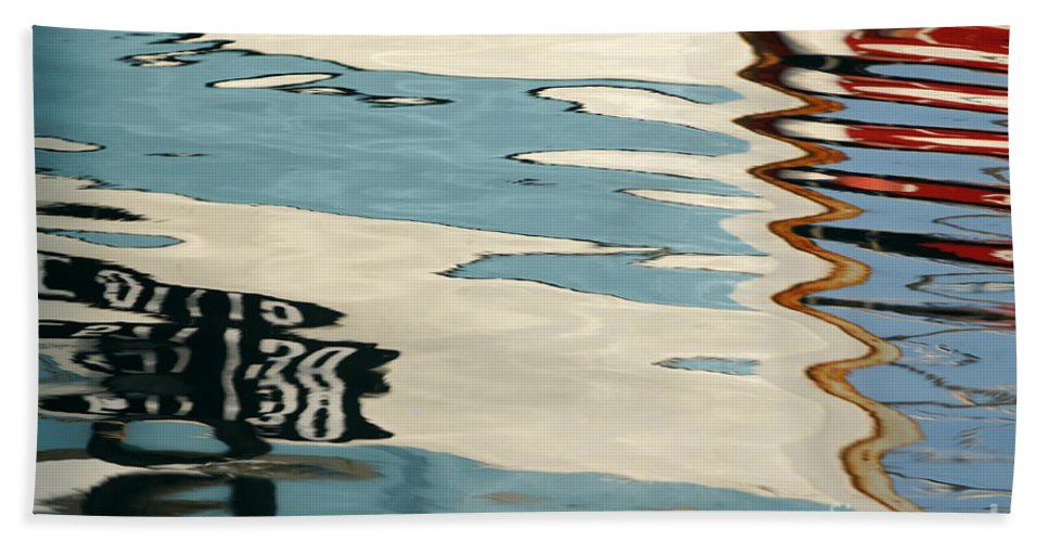 Abstract Reflection Water Blue White Boats Zigzag Cool Pattern Watercolour Harbour Marine Marina Hand Towel featuring the photograph Water Colours by Carol Weitz