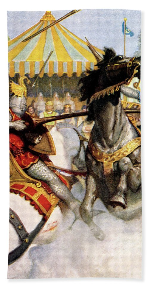 Vertical Bath Towel featuring the painting 1200s Two Jousting Medieval Knights by Vintage Images