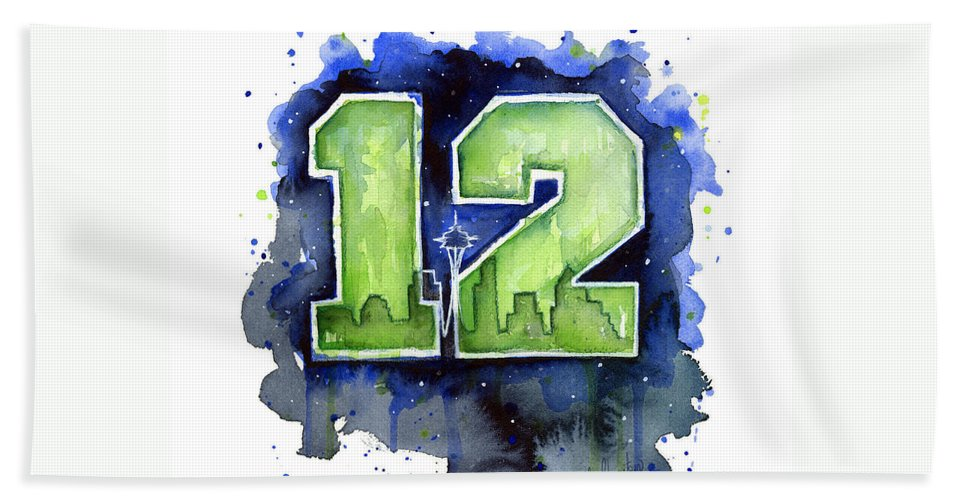 Seahawks Hand Towel featuring the painting 12th Man Seahawks Art Seattle Go Hawks by Olga Shvartsur