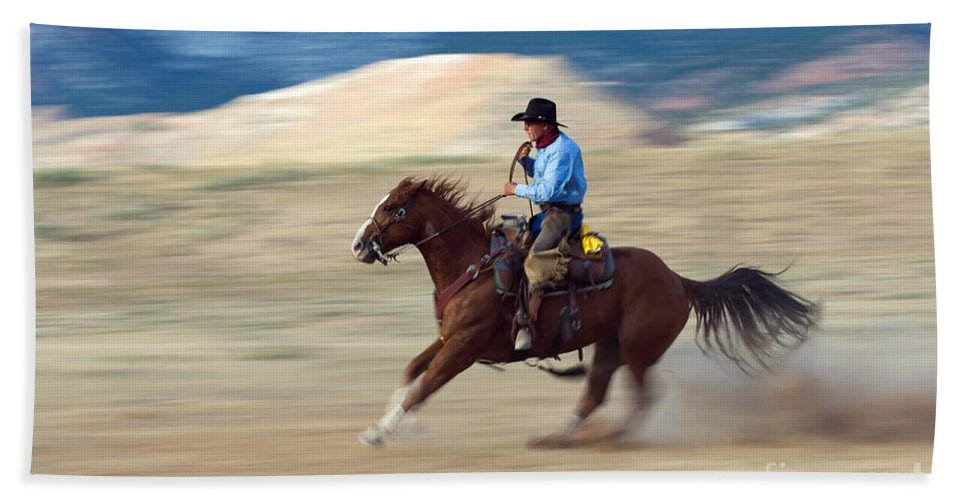 Cowboy Hand Towel featuring the photograph Cowboy by John Shaw