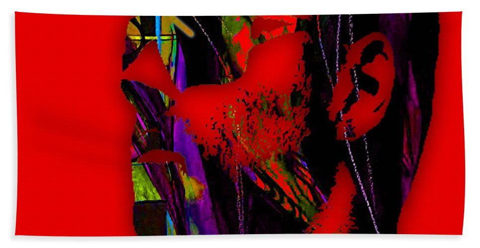 George Michael Bath Sheet featuring the mixed media George Michael Collection by Marvin Blaine