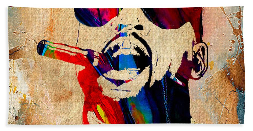 Kanye West Art Hand Towel featuring the mixed media Kanye West Collection by Marvin Blaine
