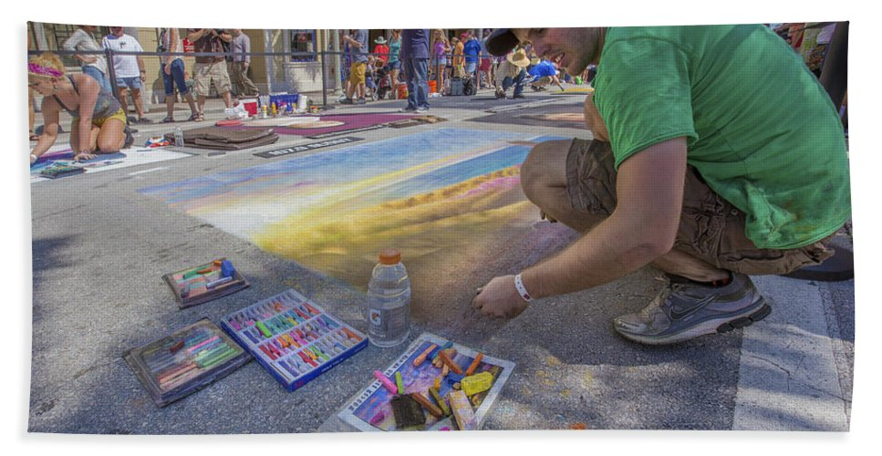 Florida Hand Towel featuring the photograph Lake Worth Street Painting Festival by Debra and Dave Vanderlaan