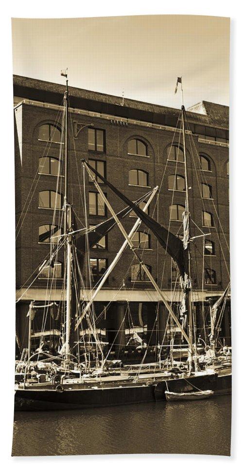 River Thames Bath Sheet featuring the photograph St Katherine's Dock London by David Pyatt