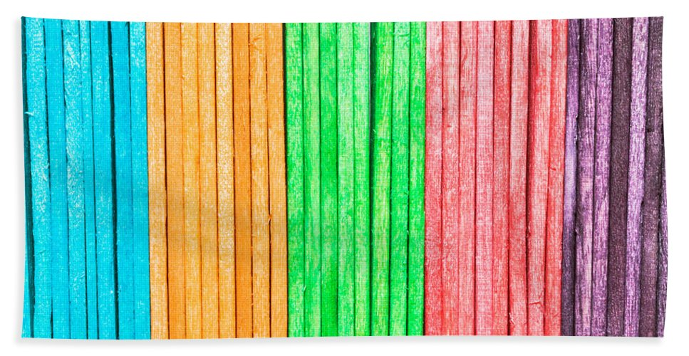 Abstract Bath Sheet featuring the photograph Wooden Background by Tom Gowanlock
