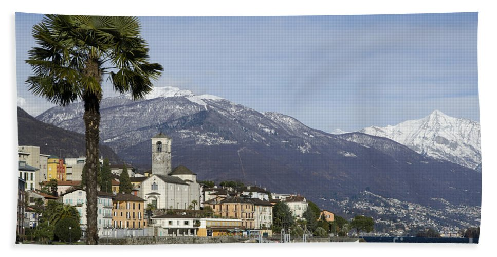 Village Hand Towel featuring the photograph Alpine Village by Mats Silvan