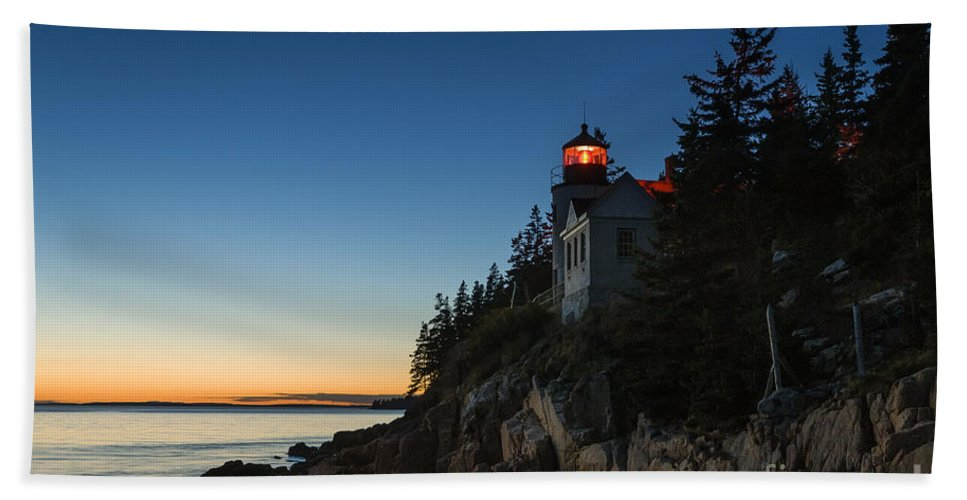 Acadia Hand Towel featuring the photograph Bass Harbor Lighthouse by John Greim