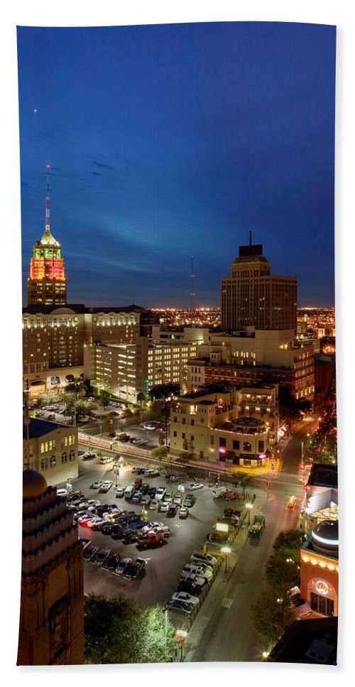 Photography Hand Towel featuring the photograph High Angle View Of Buildings Lit by Panoramic Images