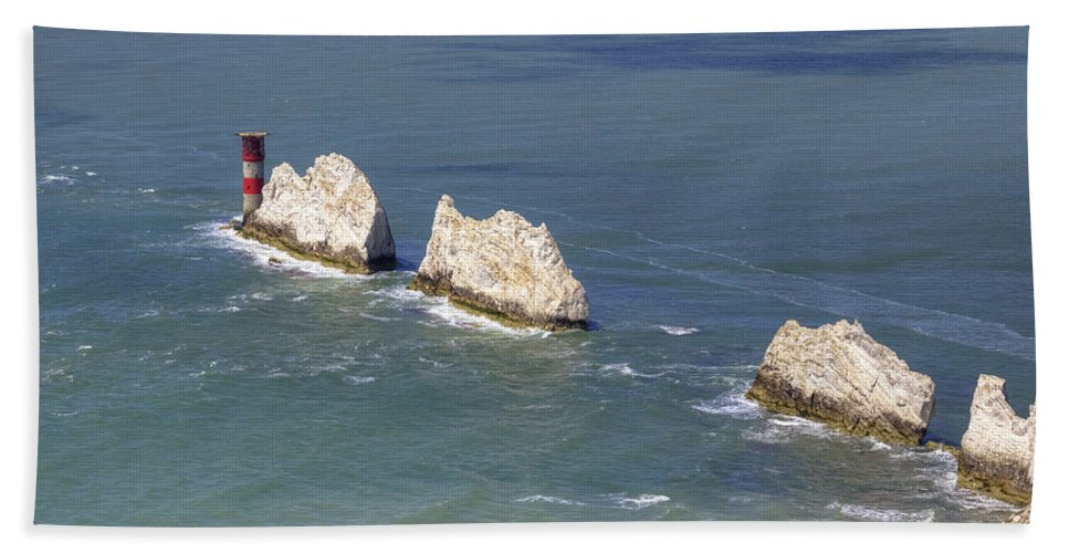 The Needles Hand Towel featuring the photograph Isle Of Wight by Joana Kruse