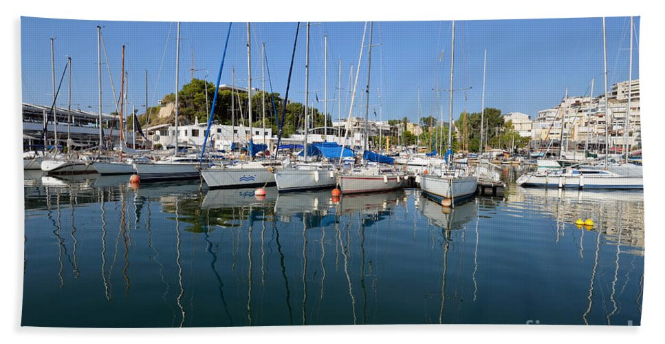 Mikrolimano Bath Sheet featuring the photograph Reflections In Mikrolimano Port by George Atsametakis