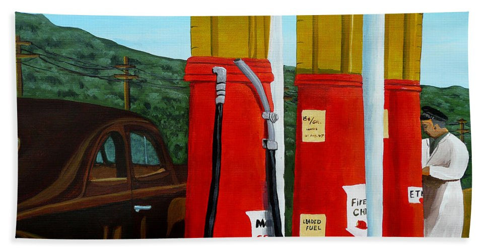 Filling Station Bath Sheet featuring the painting 15 Cents A Gallon by Anthony Dunphy