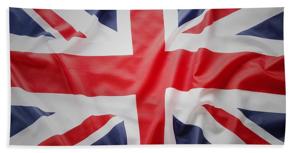 Flag Bath Sheet featuring the photograph British Flag 23 by Les Cunliffe