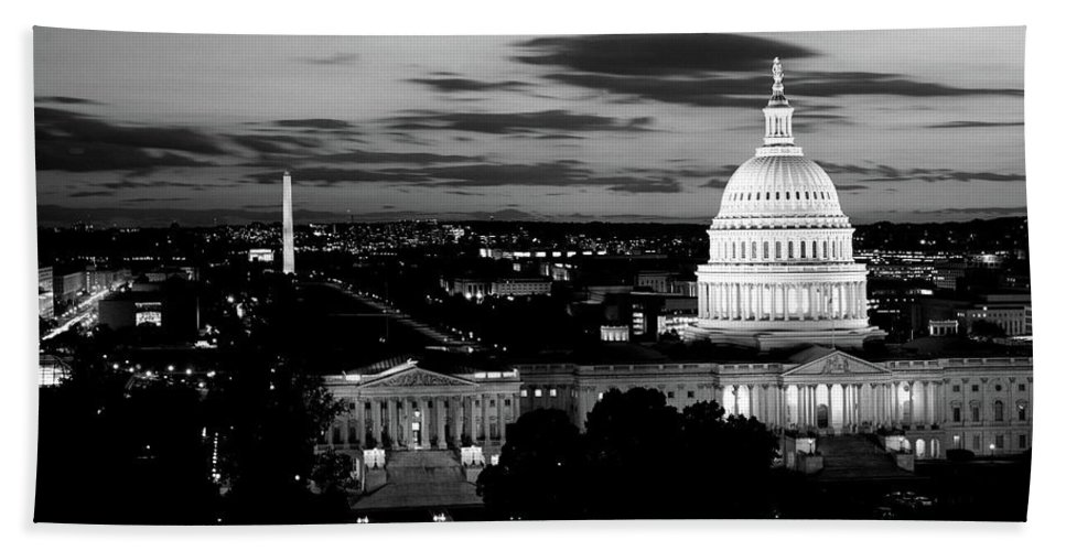 Photography Bath Towel featuring the photograph High Angle View Of A City Lit by Panoramic Images