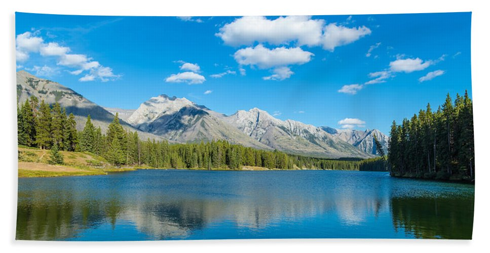 Photography Hand Towel featuring the photograph Lake With Mountains In The Background by Panoramic Images