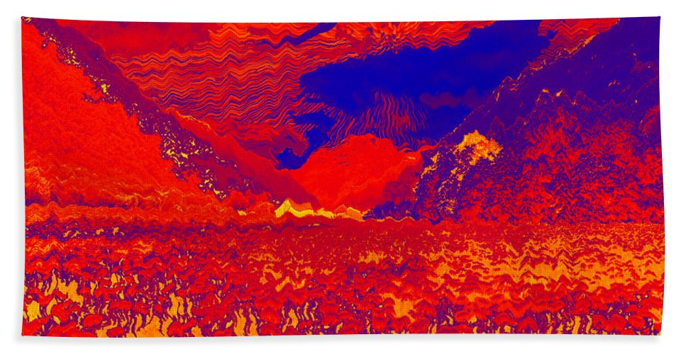 Augusta Stylianou Hand Towel featuring the digital art Space Landscape by Augusta Stylianou