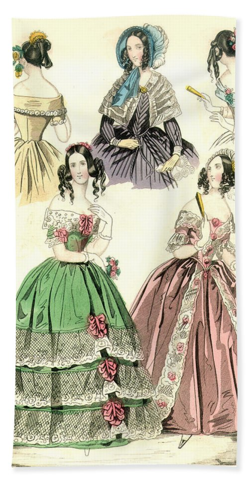 1842 Bath Sheet featuring the painting Women's Fashion, 1842 by Granger