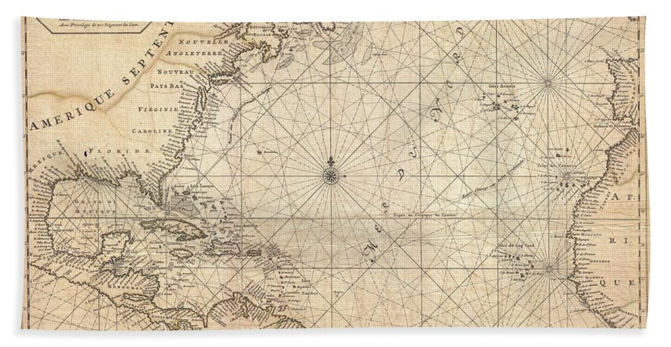 This Is A Rare And Remarkable 1693 Nautical Chart Of The Atlantic Ocean By Pierre Mortier. Covers The North Atlantic From Rough 5 Degree South Latitude To Roughly 56 Degrees North Latitude. Includes Much Of North America Bath Towel featuring the photograph 1683 Mortier Map Of North America The West Indies And The Atlantic Ocean by Paul Fearn
