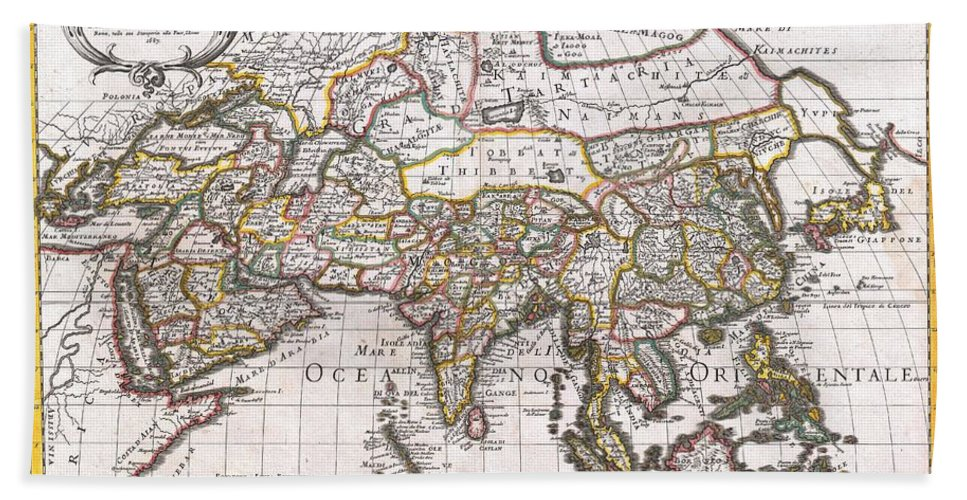 : A Spectacular 1687 Map Of Asia By The Important Italian Cartographer Giovanni Giacomo De Rossi. Depicts The Entire Continent As Well As Parts Of Europe Bath Towel featuring the photograph 1687 Sanson Rossi Map Of Asia by Paul Fearn