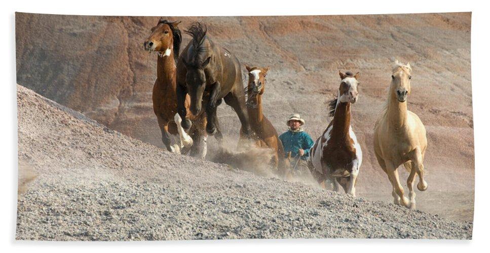 Cowboy Bath Sheet featuring the photograph Cowboy by John Shaw