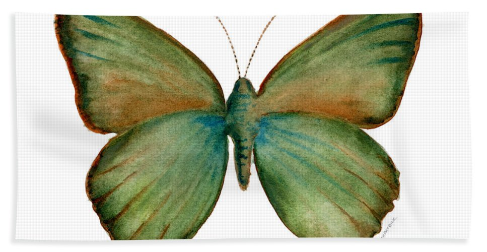 Green Hand Towel featuring the painting 17 Green Hairstreak Butterfly by Amy Kirkpatrick